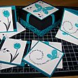 3 X 3 teal box & cards