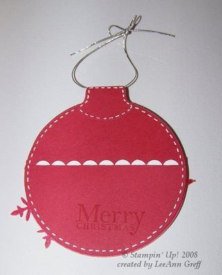 Ornament gift card back