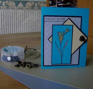 Embellishment teal metallic card