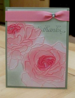 The dry embossed roses are shaded so nicely in Rose Red Regal Rose Pretty