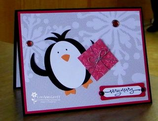 Punched Merry dancing penguin
