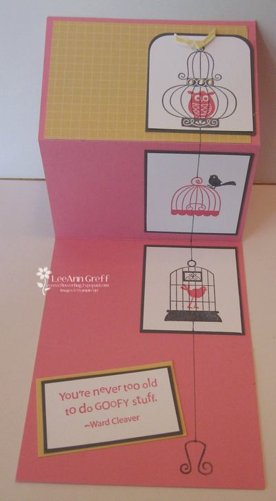 August birdcage card open