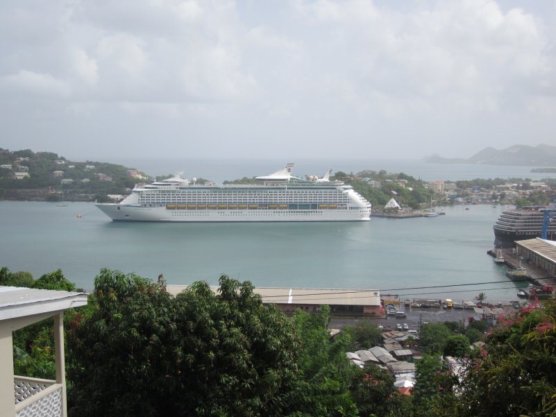 St Lucia view of our ship