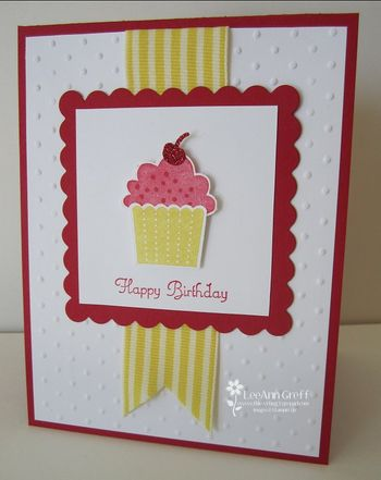Cupcake Red Daffodil card