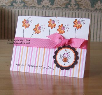 Buzzin' By workshop pink orange card