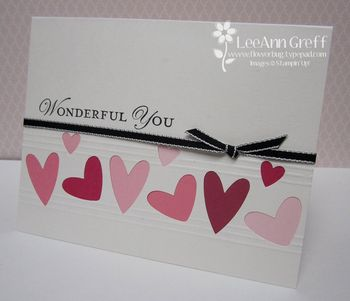 Punch Art colored hearts card