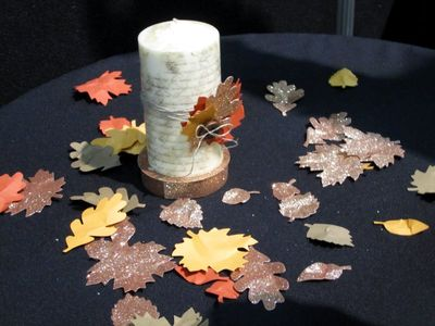 Convention display candle leaves