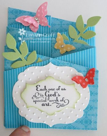 April interlocking card turquoise