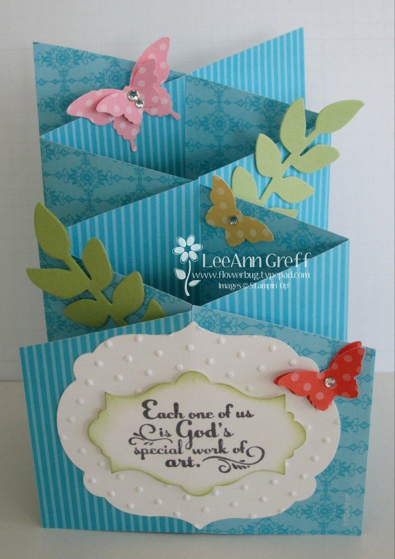 Cascading card tutorial flowerbugs inkspot april club turquoise m4hsunfo