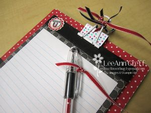 Hostess notebook close up