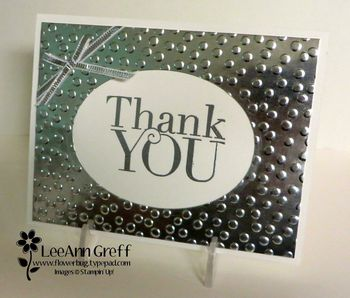 Thank you in silver foil.