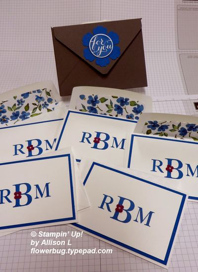 Allison's monogram notecards and box