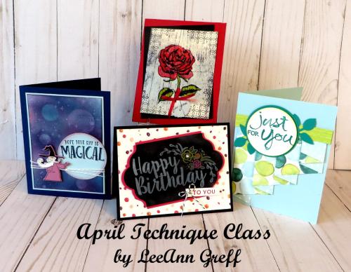 April Technique Class cards