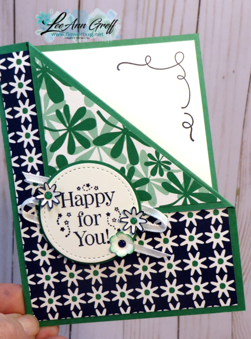 Happiness Blooms corner flip card