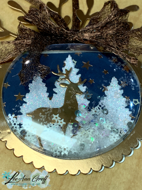 Snow globe shaker copper ornament