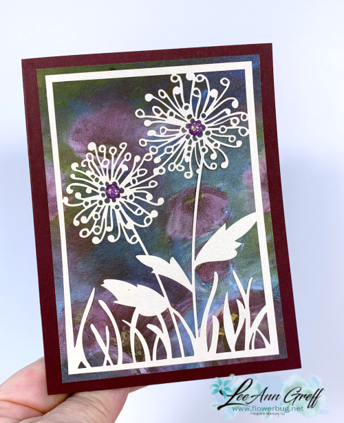 Shimmer detailed laser cut card dandilion