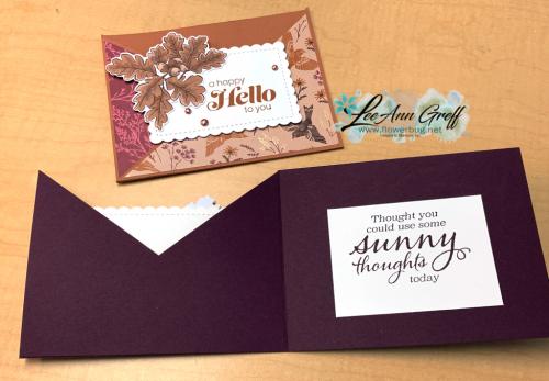 Blackberry Beauty diagonal faux pocket cards